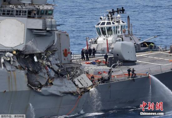 """当地时间6月17日凌晨,美国海军第七舰队""""菲茨杰拉德""""号驱逐舰在日本近海与一艘菲律宾籍货船相撞。"""