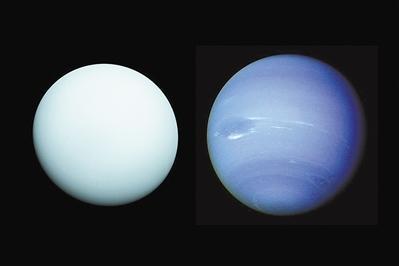 天王星(左)和海王星(右)合成图