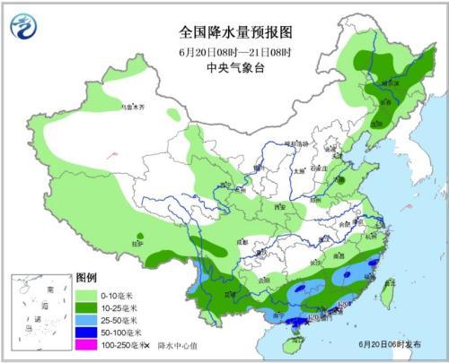 全国降水量预报图(6月20日08时-21日08时)