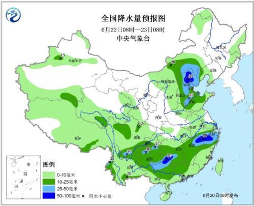 全国降水量预报图(6月22日08时-23日08时)