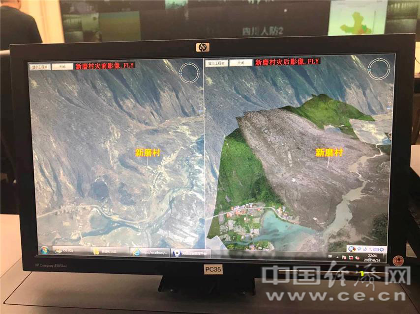 细节放大对比图,灾前影像图衡宇清晰可见;灾后只见山石,河流也消逝许多。