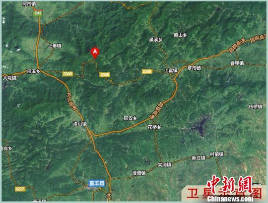 江西省奉新县百丈山风物区卫星示意图。 钟新 摄