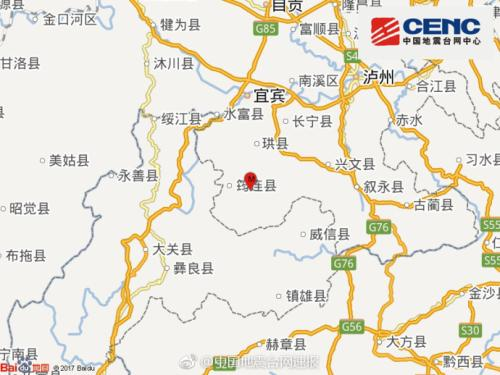 四川宜宾市筠连县发生3.6级地震 震源深度14千米