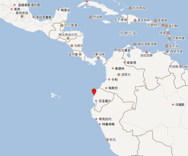 厄瓜多尔沿岸近海发生6.0级地震 震源深度10公里