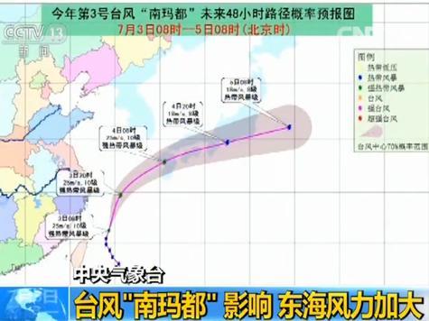 """中央气象台:受台风""""南玛都""""影响 东海风力加大"""