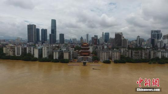 7月3日,因受连日暴雨影响,广西柳江河柳州段呈现超警惕水位。 王以照 摄