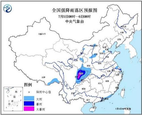暴雨蓝色预警发布:四川甘肃等地有大到暴雨
