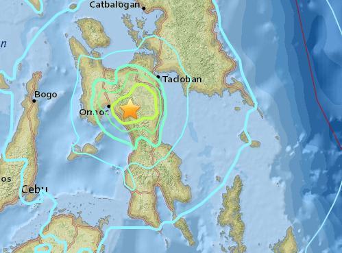 菲律宾莱特岛发生5.9级地震 震源深度12.7公里