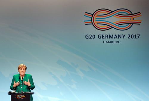 资料图片:德国总理默克尔在汉堡出席二十国集团(G20)峰会新闻发布会。 新华社记者 罗欢欢 摄