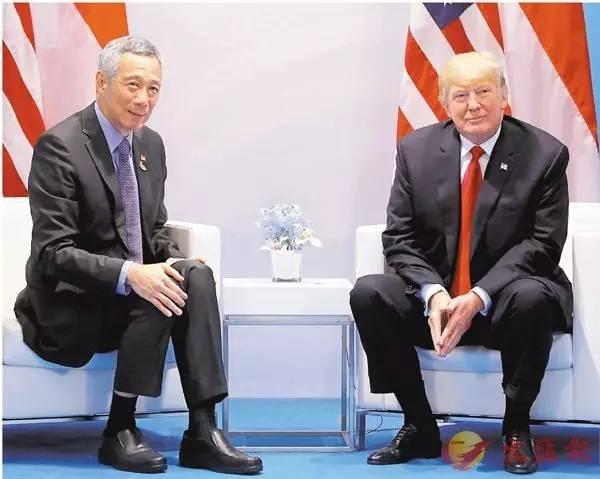 ▲7月8日,特朗普与李显龙在G20峰会期间会晤。(香港文汇报)