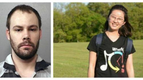 左:涉嫌绑架章莹颖的嫌犯克里斯滕森。 右:章莹颖。 图片来源:梅肯县警长办公室