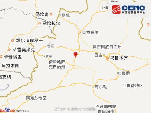 新疆塔城地区发生3.0级地震 震源深度8千米