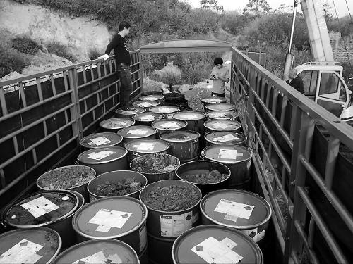 环保工作人员现场查获的部分废液桶