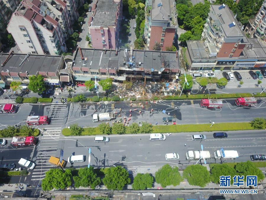 7月21日拍摄的杭州市西湖区店铺爆燃事故现场。新华社发(克青 摄)