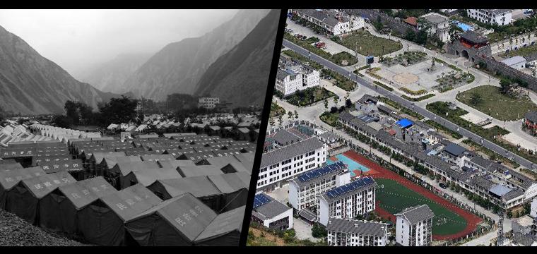 左图:2008年6月18日拍摄的四川省汶川县绵�镇震后临时安置点(新华社记者海明威摄)。