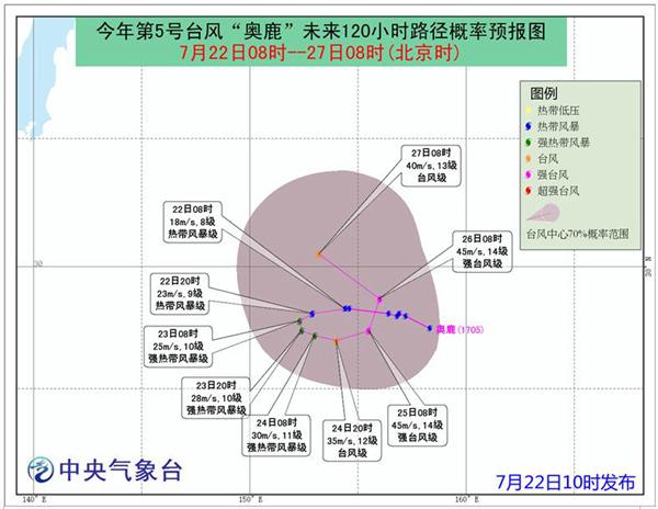 """今年第5号台风""""奥鹿""""将在日本东南洋面回旋"""