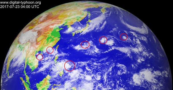 北京时光23日12时,葵花8号卫星观察到的红外云图。