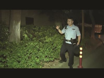 警察帮助在灌木丛里找钱。