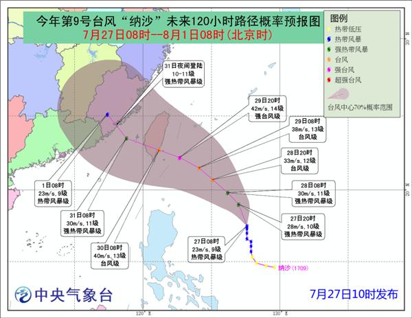 """台风""""纳沙""""向台湾东南部靠近 预计31日登陆闽粤沿海"""