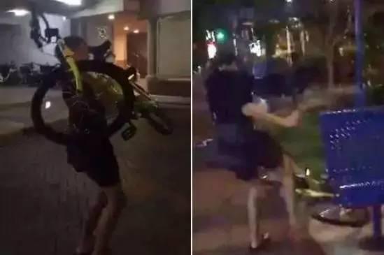 ▲4月17日,一名新加坡少年丢掷和踢踩ofo单车的视频被上传到社交媒体上。