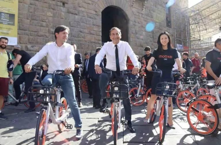 """▲中国共享单车""""登陆""""意大利佛罗伦萨。"""