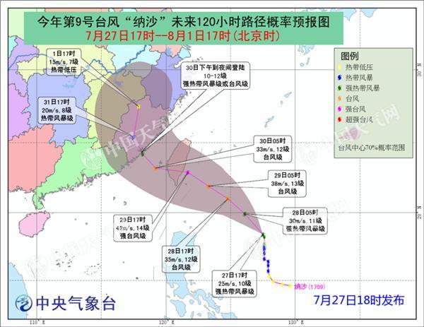 台风蓝色预警:第9号台风29日将登陆或擦过台湾