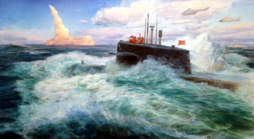 《水下发射运载火箭》,表现了上世纪80年代解放军以潜艇在水下发射弹道导弹的情景(油画秦文清)