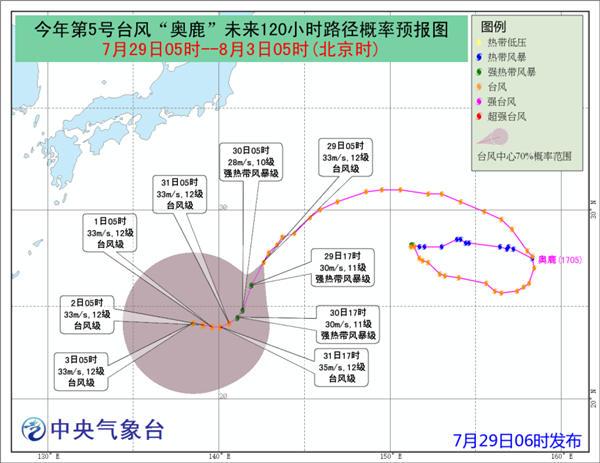 """第5号台风""""奥鹿""""未来对我国海域无影响"""
