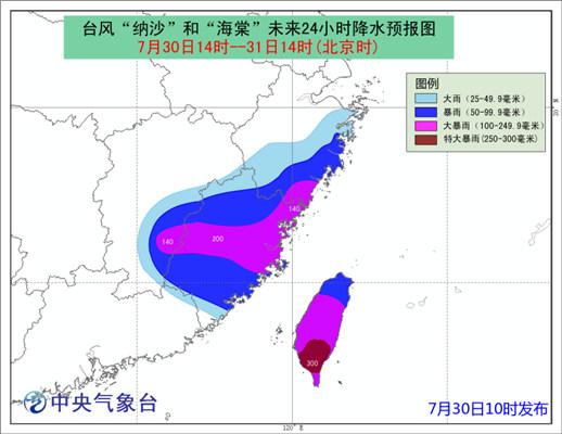台风蓝色预警:双台风连登福建 南方4省遭大暴雨