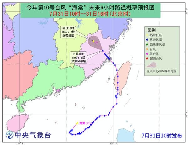 """""""海棠""""今天下午将减弱为热带低压 福建等8省大到暴雨"""