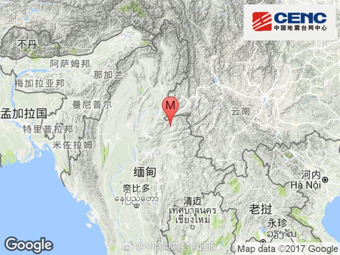 缅甸发生3.3级地震 震源深度13千米