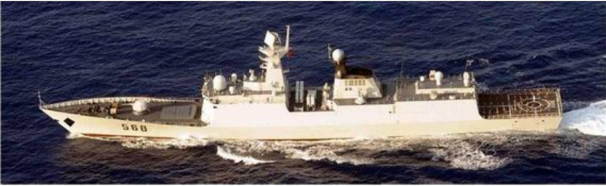 2012年,日本保安厅拍摄到的衡阳舰航拍照片,刊登在其《世界的舰船》杂志上。