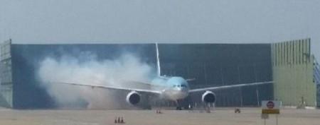 航班出航后,在机场检验时产生火警(韩联社图)