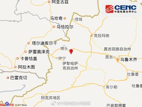 新疆精河县发生4.6级地震 震源深度8千米