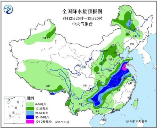 全国降水量预报图(8月12日20时-13日20时)