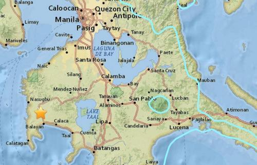 菲律宾吕宋岛发生6.2级地震。(图片来源:美国地质勘探局网站)
