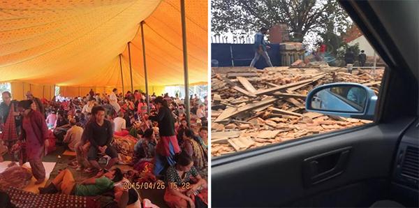 左图:临时避难场所,右图:路过废墟。