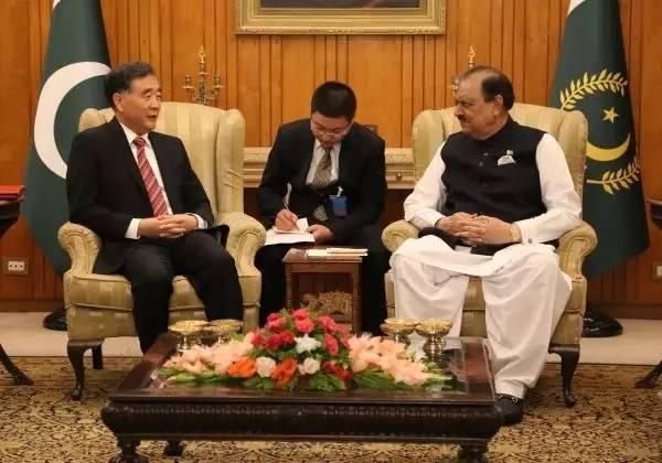 ▲8月14日,巴基斯坦总统侯赛因(右)在伊斯兰堡会见国务院副总理汪洋(左)。