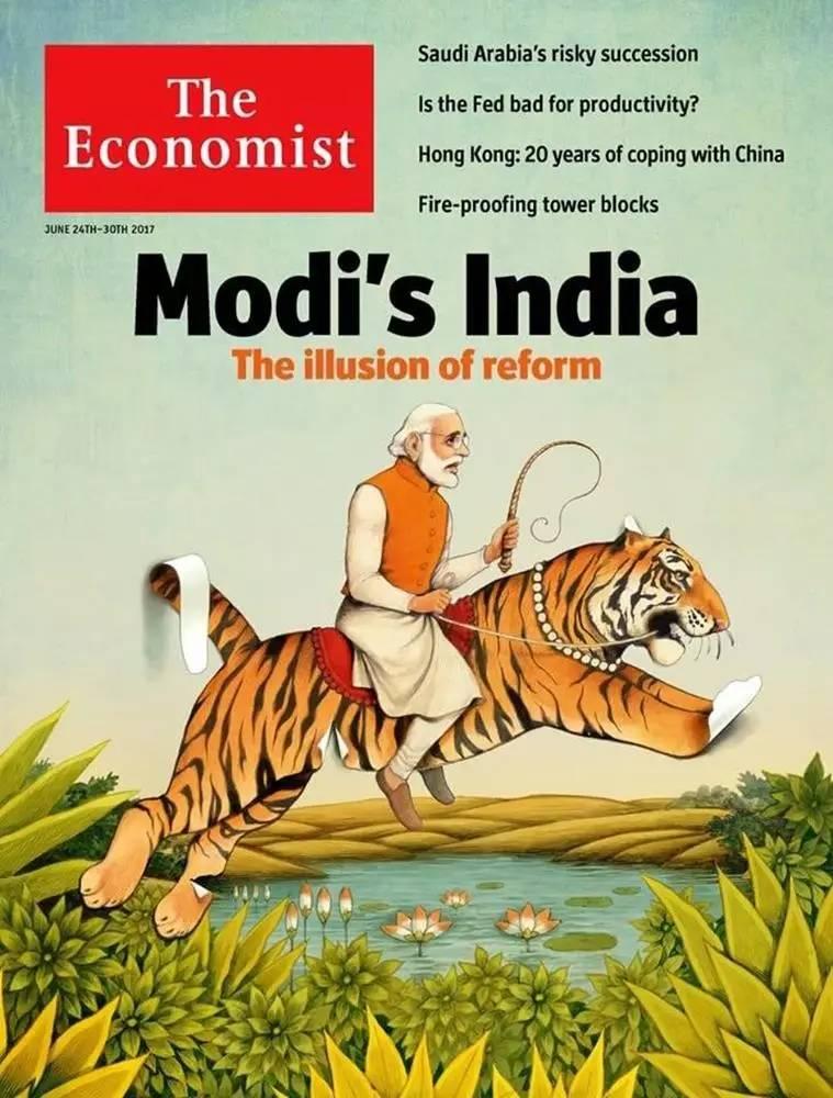 ▲英国《经济学人口》周刊6月24日一期封面文章题目为:《莫迪之印度:革新之幻象》