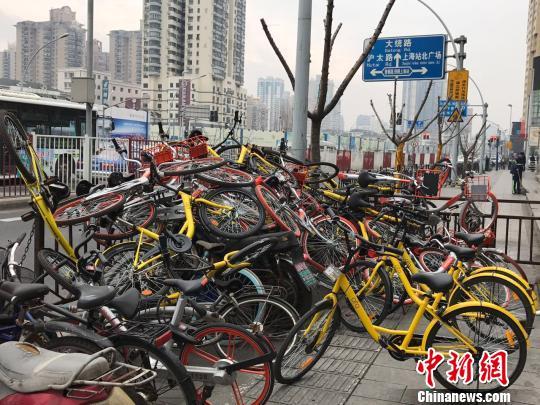 上海站北广场四周被随意堆放的共享单车。 王子涛 摄