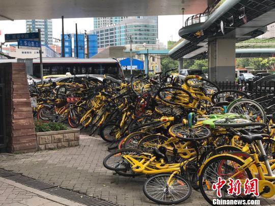 上海市中央的静安公园门口聚集成山的共享单车。 王子涛 摄
