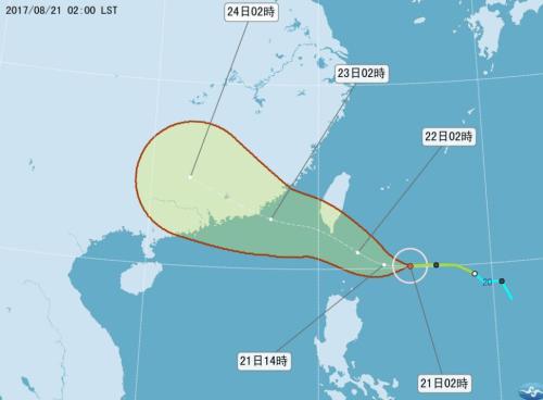 """台风""""天鸽""""朝台湾南部袭来 或带来局部大雨"""