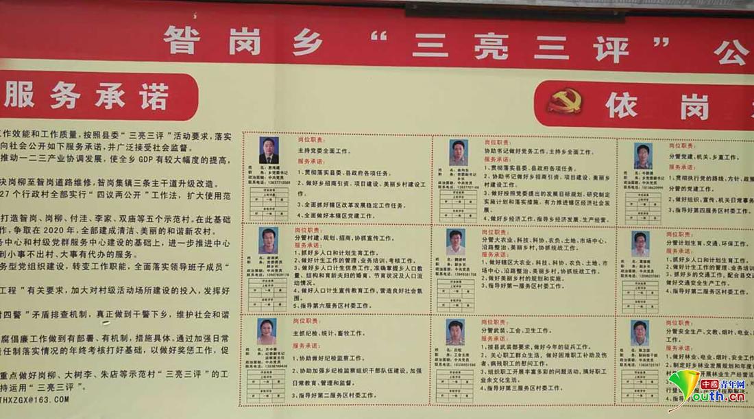 """唐河县昝岗乡""""三亮三评""""展板。采访工具供图"""