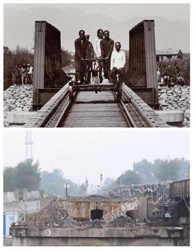 被拆掉的京张铁路南沙河大桥,古今同角度对比,照片系由南向北拍摄