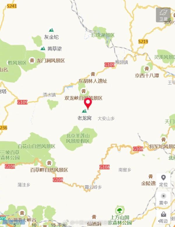 北京房山区(塌陷)发生2.8级地震,震源深度0千米