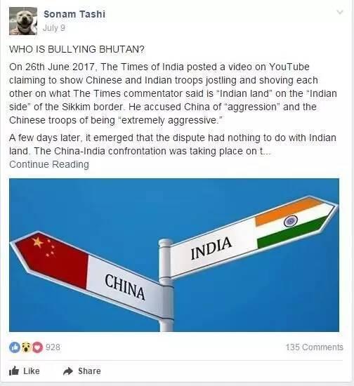 ▲图这张图是facebook上一个不丹人的组群里,一个用户在7月9日的时候写的一篇怒斥印度的文章,说印度才是在欺凌不丹的那个施暴者,这个文章获得了928个点赞。