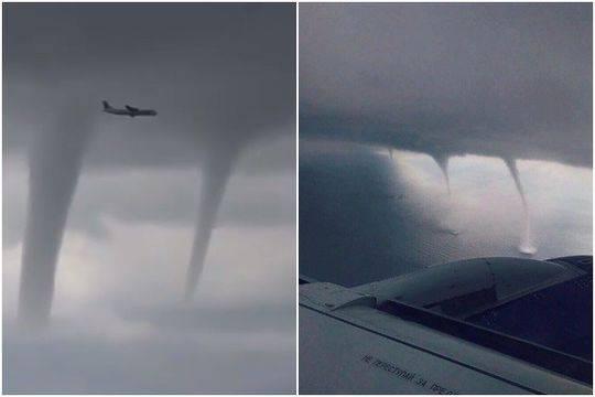 飞行员胆子太大了!客机从一排龙卷风旁飞过成功着陆