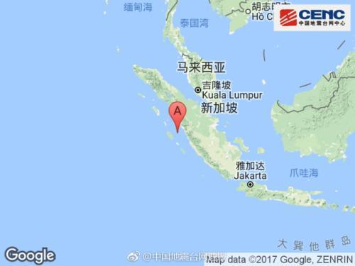 印尼苏门答腊南部发生6.2级地震 震源深度40公里