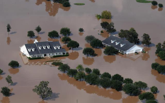 航拍美国得州飓风灾区