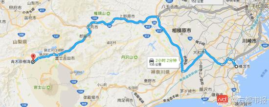 横滨距青木原树海车程约135公里。